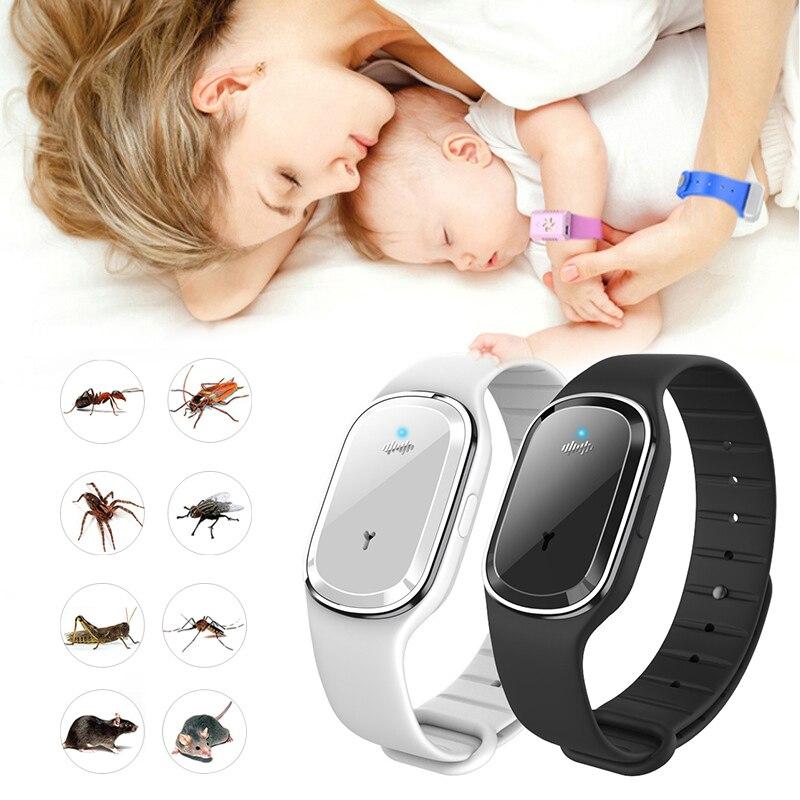 Anillo de mano repelente de mosquitos ultrasónico, pulsera repelente de mosquitos para niños y adultos, artefacto para exteriores, reloj Universal Anti-Mosquito para interiores