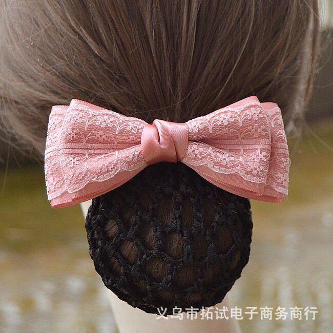 Professional hair accessories nurse bank hotel stewardess work net bag bow hair net diamond drill flower handmade gift FS034