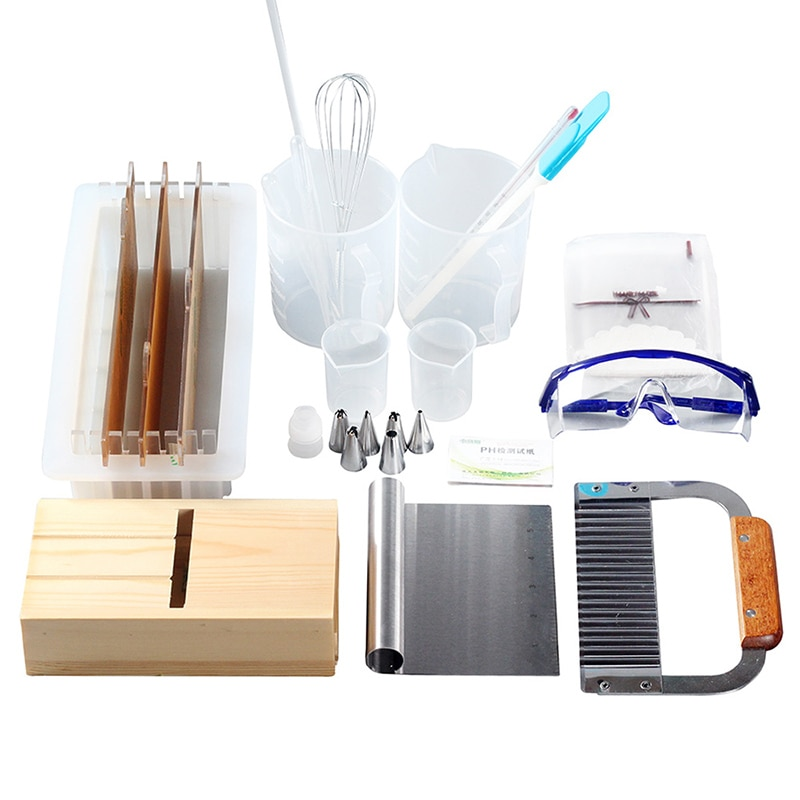 Nicole Soap Making Supplies Set Silicone Soap Mold with Separators and Wood Beveler for Handmade Soap Experiment Tool