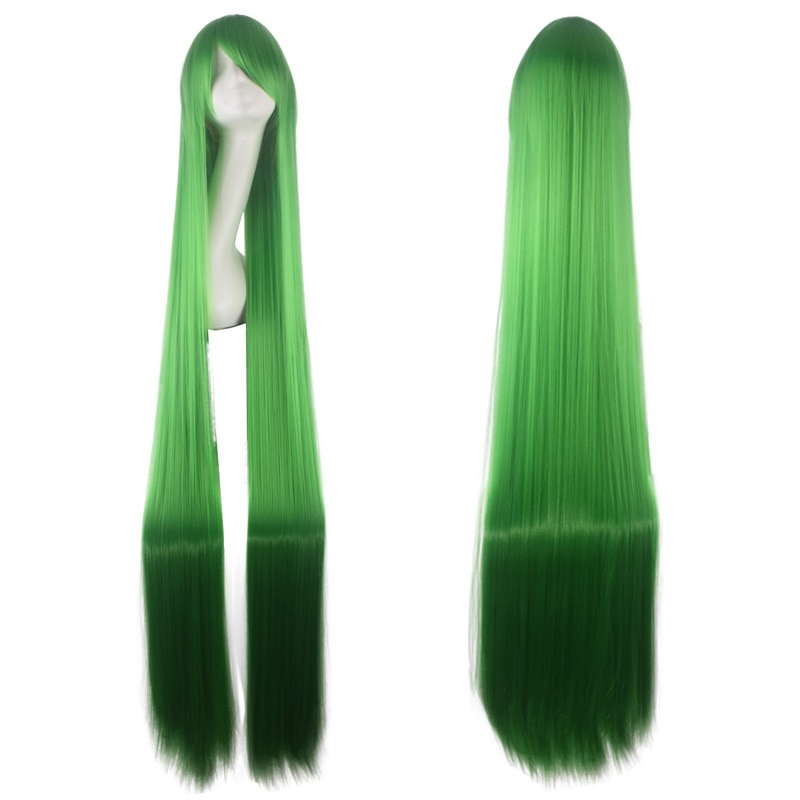 150CM 59'' green Long Straight Wig with bangs women Synthetic Hair Heat Resistant Fiber Halloween pa