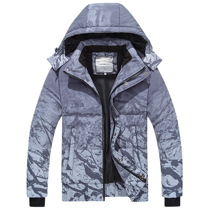 Мужской пуховик унисекс, зимнее теплое пальто со съемным капюшоном, Модная парка в стиле рок с принтом, Высококачественная Мужская одежда