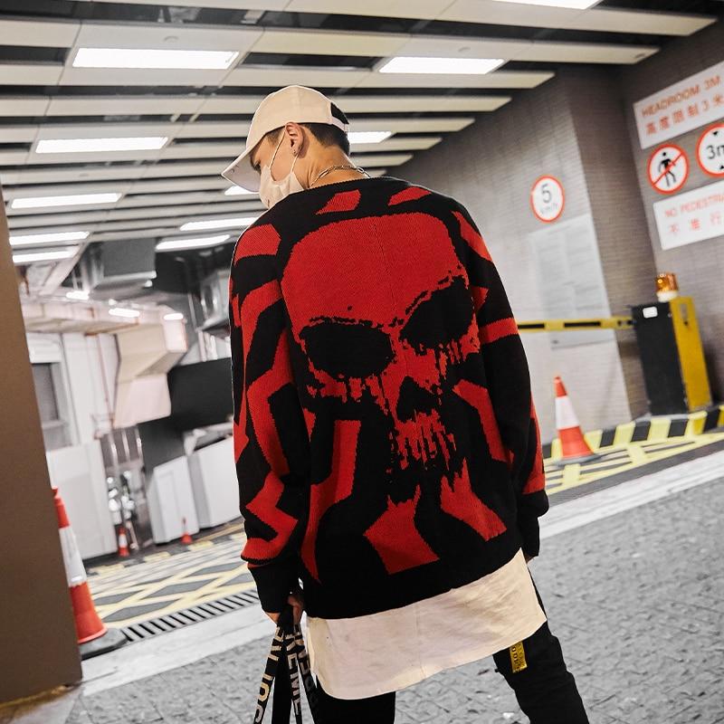 Schädel Gestrickte Pullover Männer Batwing Hülse Hüfte Hop Männlichen Pullover O Neck 2020 Herbst Lose Übergroßen Pullover Mann Kleidung Bluse