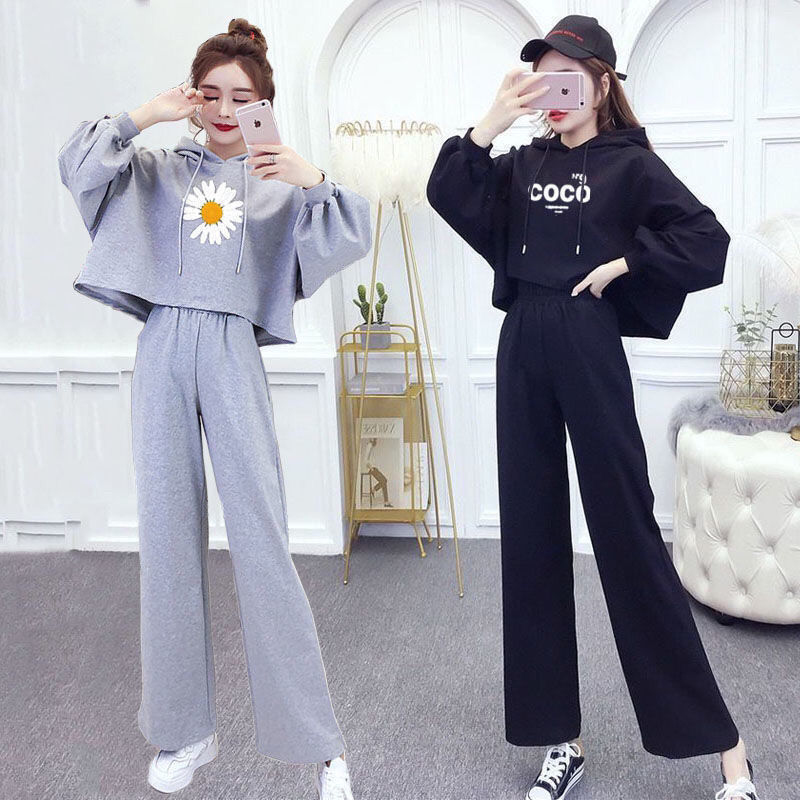 Autumn fashion hooded suit women 2021 new Korean style hooded long sleeved sweater loose wide leg tr