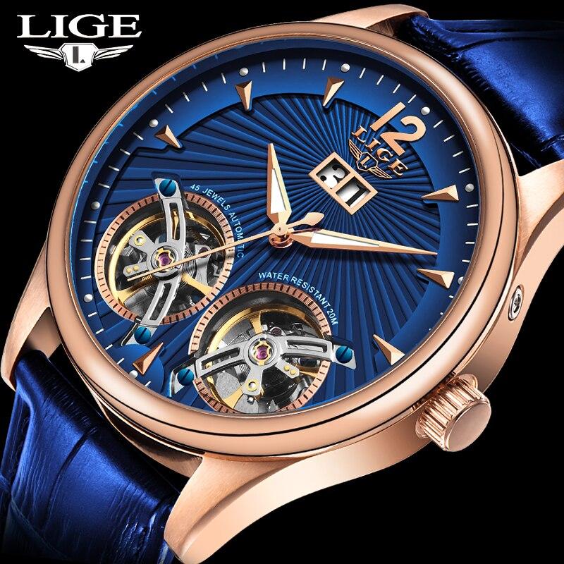 LIGE-ساعة رجالية ميكانيكية ، ساعة يد رجالية فاخرة ، توربيون مزدوج ، مقاومة للماء ، أوتوماتيكية ، أعمال ، 2020 ، جديد ، 9997