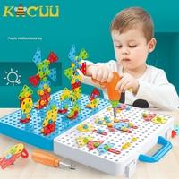 Сверлильный винт 3D креативный мозаичный пазл игрушки для детей Строительные кирпичи игрушки для детей DIY электрическая дрель набор обучающ...