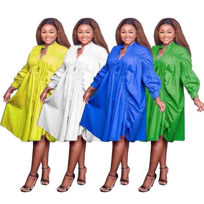 Женские свободные платья с V-образным вырезом, плиссированные повседневные модные платья средней длины больших размеров, халат, модная летн...