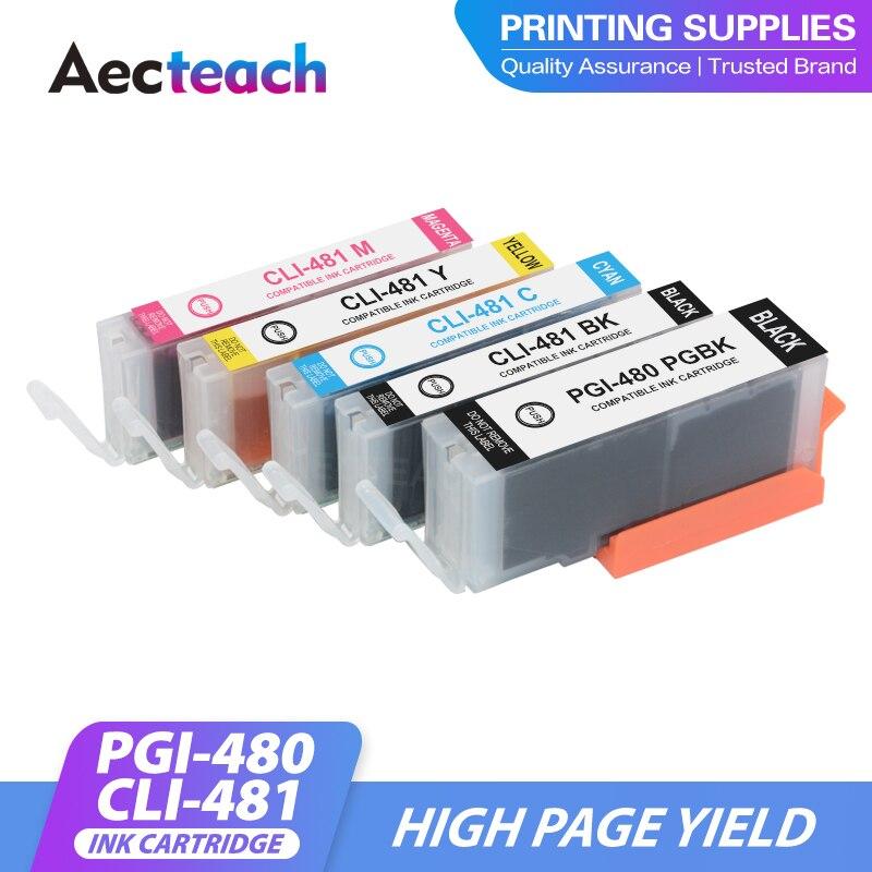 Aecteach جديد متوافق لكانون 480 481 PGI-480 CLI-481 الحبر خرطوشة PIXMA TS704 TR7540 TR8540 TS6140 TS9540 TS6240 TR 7540