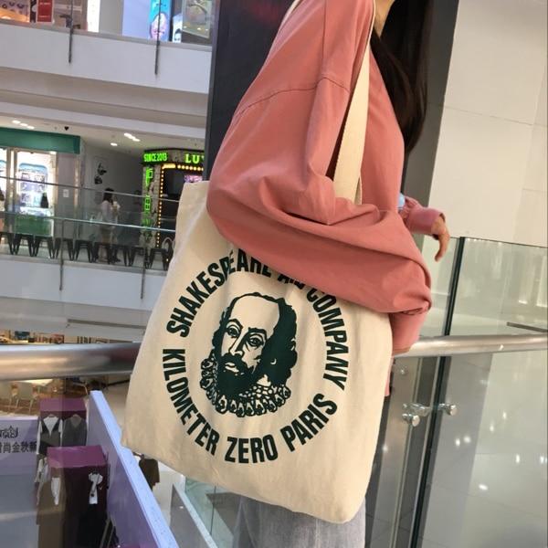 WeGang, Moda bolso de mano para mujer, bolsas de compras de lona reutilizables, bolsas de comestibles de algodón, bolsas plegables, carro de impresión, bolsa de agarre Eco G002