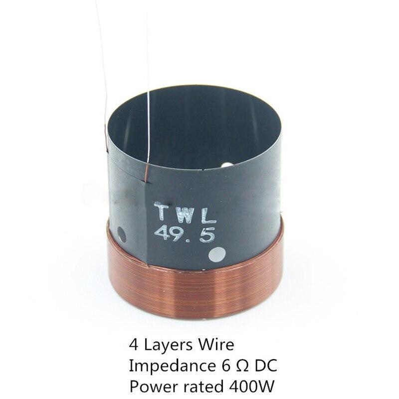 Bobina de voz de Woofer Finlemho de 49,5mm, piezas de reparación de altavoz de graves de 2 pulgadas y 6 ohm, cable de 4 capas con cable de cobre, de aluminio negro