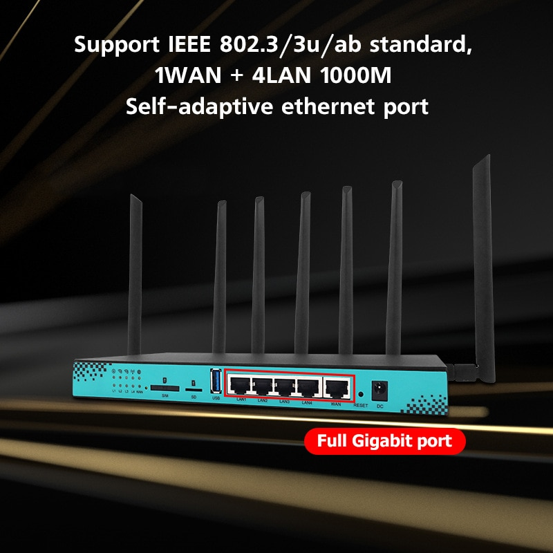 5G wireless routers WG1608 wifi router MT7621A USB3.0 support high speed 4G & 5G module EM7455 EM12-G For Network enlarge