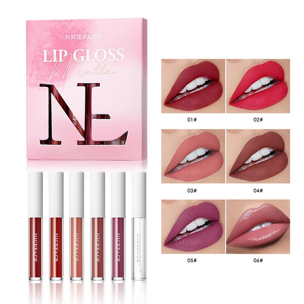 Niceface 6Pcs Matte Waterdichte Langdurige Lipgloss Non Sticky Make Lippenstift
