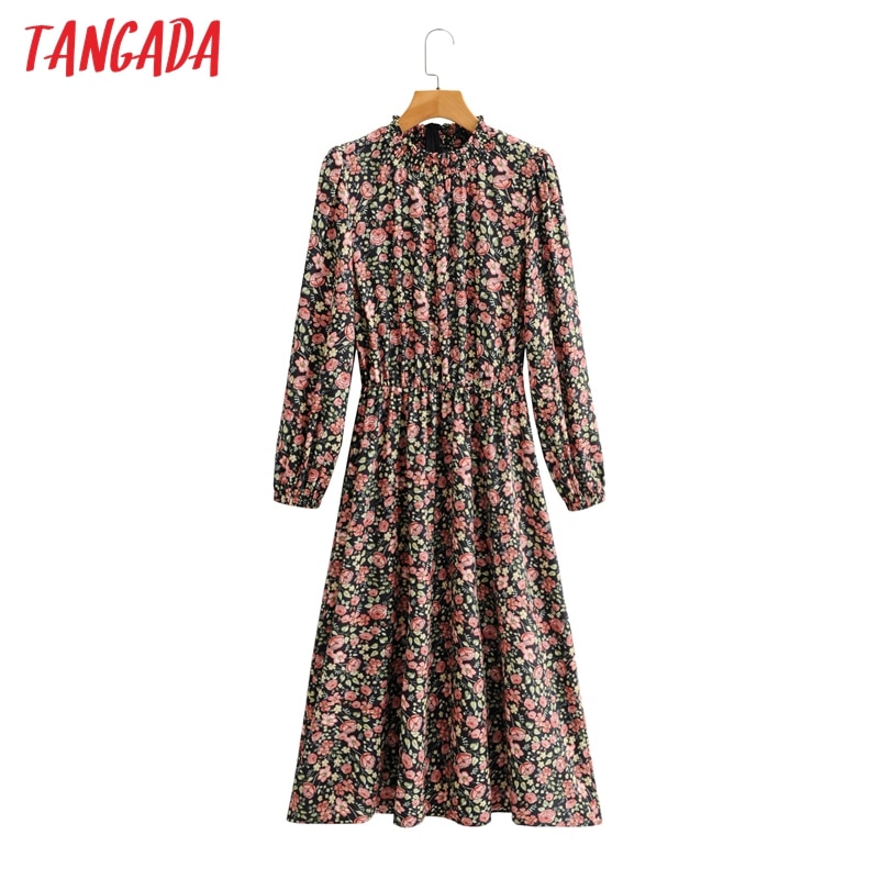Tangada 2021 Mode Frauen Rose Druck Rüschen Kleid Langarm High Street Damen Midi Kleid SY164