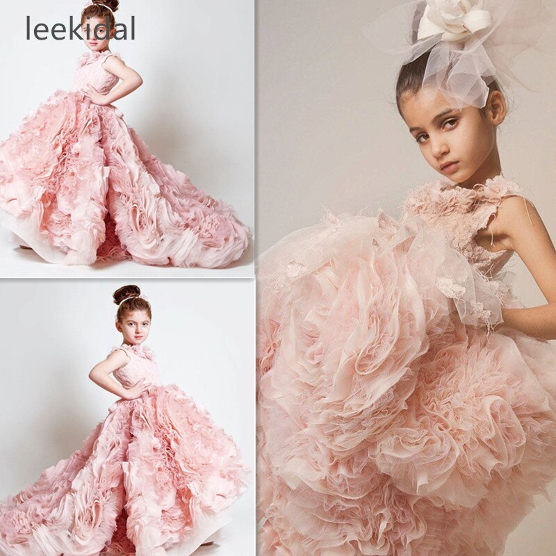 Pink Flower Girls Dresses Ruched Tiered Ice Pink Puffy Girl Dresses for Wedding Party Gowns Plus Size Birthday  Pageant Dresses