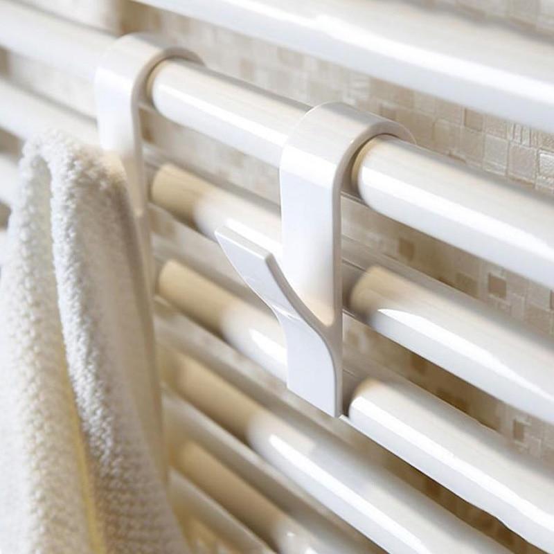 عالية الجودة شماعات ل ساخنة جهاز تدفئة المناشف السكك الحديدية شماعات ملابس حمام حامل صنارة الصيد Percha Plegable وشاح الشماعات الأبيض 6 قطعة