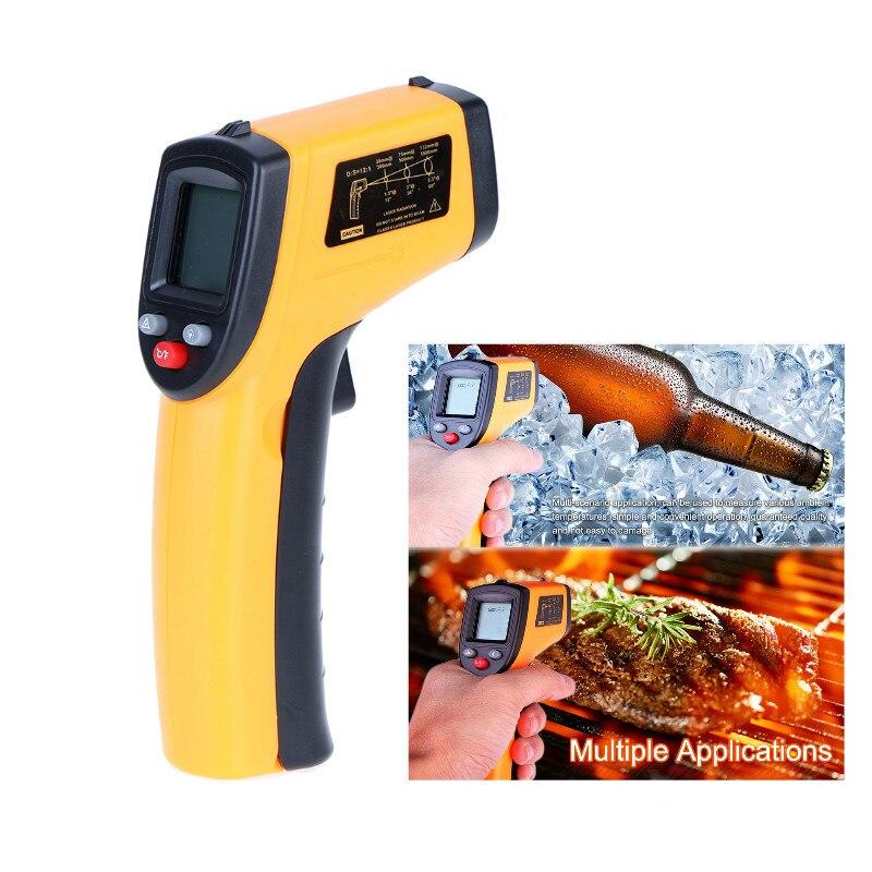 Pantalla LCD sin contacto Digital infrarrojo Themperature pirómetro punto láser IR con Sensor de medidor de retención de datos para alimentos de cocina