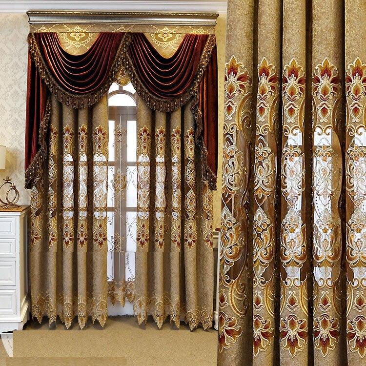فيلا فاخرة التطريز الستائر تول غرفة المعيشة الأوروبية البني الستائر تول الهندسي شير الفوال نافذة الستائر X-M041 # WS