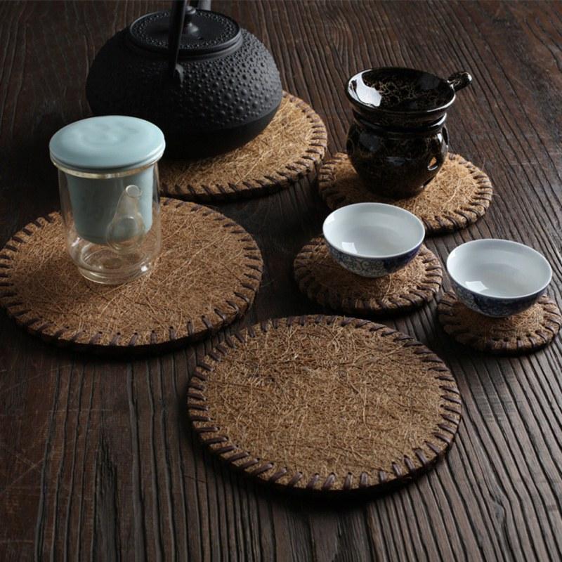 Porta-copos de bambu isolado bule esteira cozinha barra de jantar manual bule chá copo titular placemat almofada de café utensílios de chá casa suprimentos