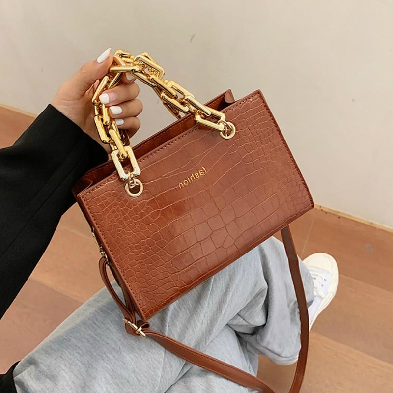 Gold Chain Stone Pattern Leather Crossbody Bags For Women Designer Small Handbags Chain Shoulder Messenger Bag Mini Purses