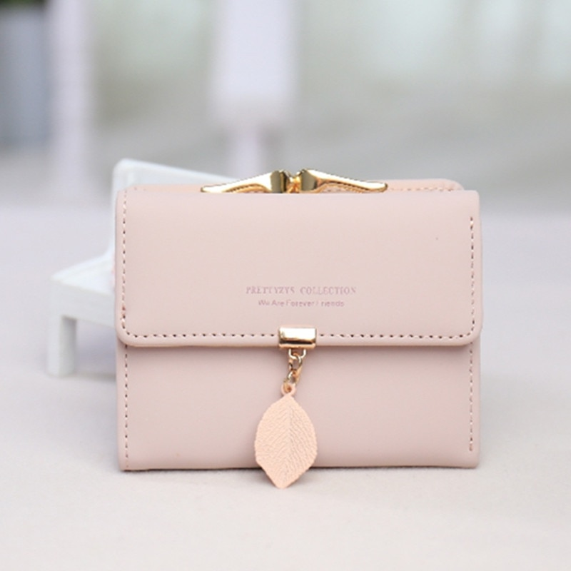 Women's Mini Wallet 2020 Korean Small Fresh Leaf Pendant 3 Fold Small Wallet Student Coin Coin Purse Clutch