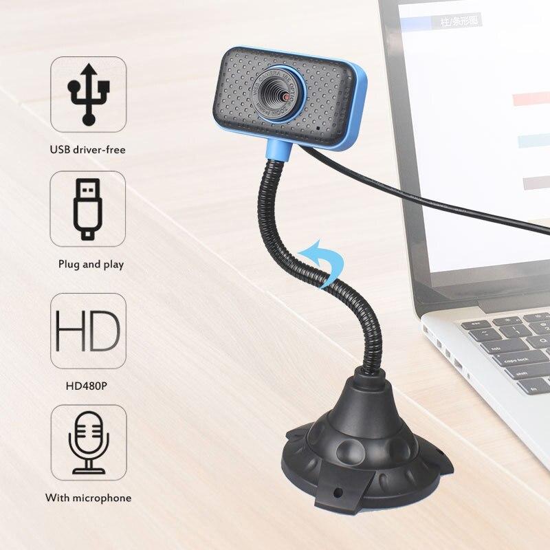Foco automático 480p hd web camera computador portátil em linha classe ao vivo digital visão noturna webcam com microfone embutido livre de dobra