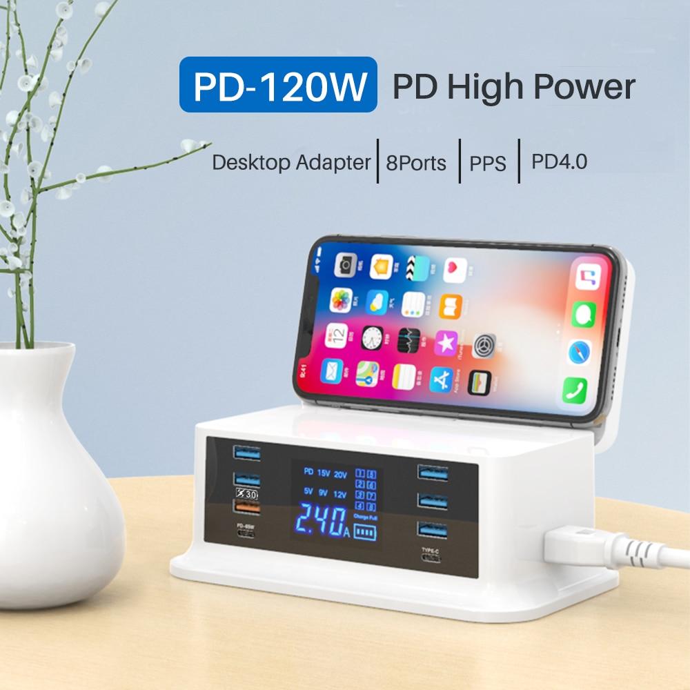 PD120W fast charger type c QC3.0 quick charge 8 port hub for MacBook pro. iPhone Xiaomi Huawei digital device wireless charging