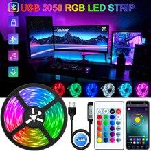 Striscia LED USB Bluetooth RGB 5050 5V luci RGB flessibile lampada a LED nastro nastro RGB TV schermo da tavolo retroilluminazione nastro a diodi