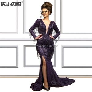 Женское вечернее платье с юбкой годе, фиолетовое платье с бахромой и V-образным вырезом, в мусульманском стиле, блестящее платье для выпускного вечера, 2020