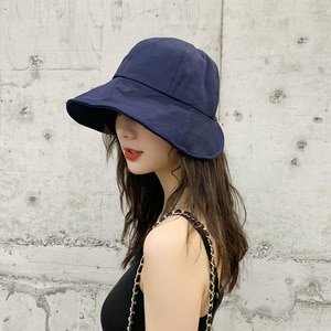 Hat female summer sunscreen fisherman hat Korean version of the sun hat Japanese big head bib hat dome solid color