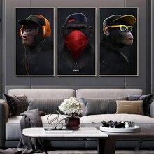 Animal photo toile Art affiche singe drôle avec casque photos murales pour salon décoration grande taille peinture moderne