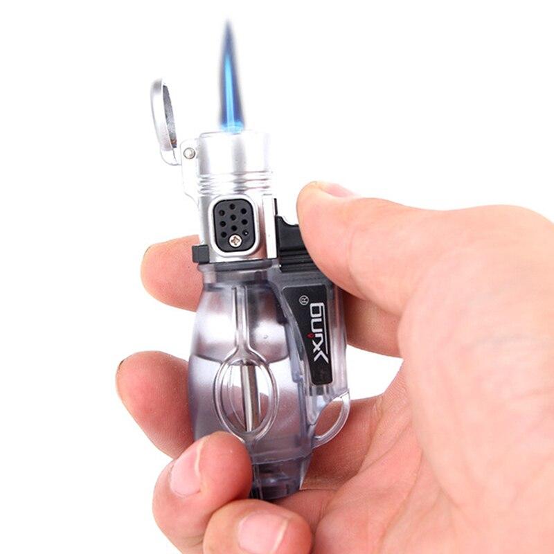 Ao ar livre pequena pistola tocha turbo isqueiro jet butano gás charuto mais leve à prova de vento fogo em linha reta mais leve metal forma boliche