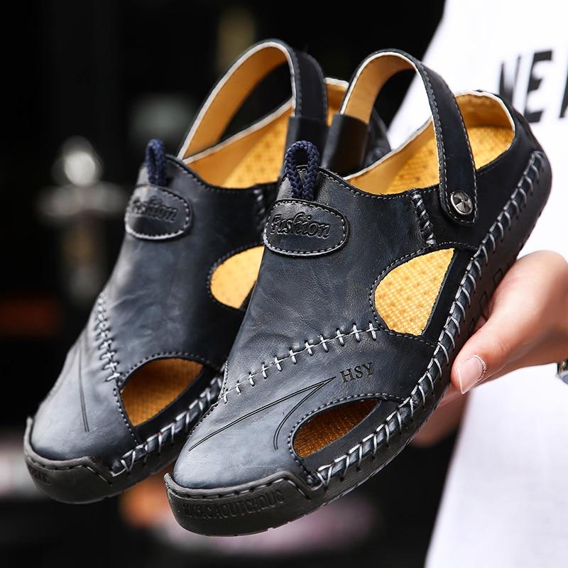 Nuevas sandalias informales de verano para hombres, sandalias italianas para hombres, sandalias de playa de Echtes Leder, zapatos para hombres, sandalias de senderismo al aire libre 48