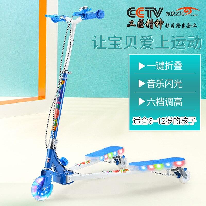 Scooter plegable de 3 ruedas para niños, altura ajustable, motoneta de auto-empuje, 4-13 años de edad