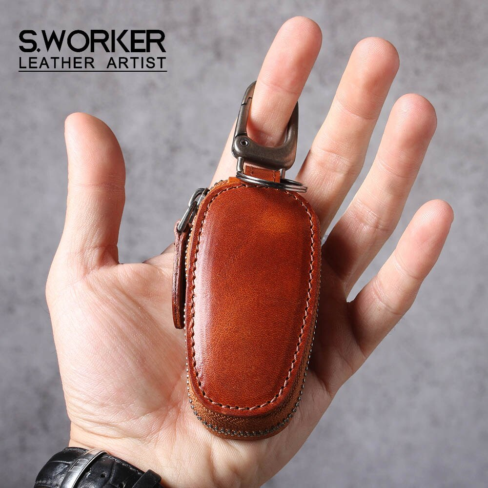 S.WORKER اليدوية سلسلة مفاتيح من الجلد الأصلي الرجال الموضة الخصر سيارة مفتاح سلسلة عن بعد حالة متعددة الوظائف النساء نمط خمر