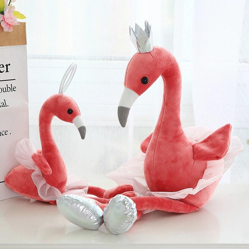 Peluche de cisne flamenco Pavo Real juguetes de peluche con corona animales de peluche muñeca de juguete suave para niños regalo Navidad para chicas decoración del hogar