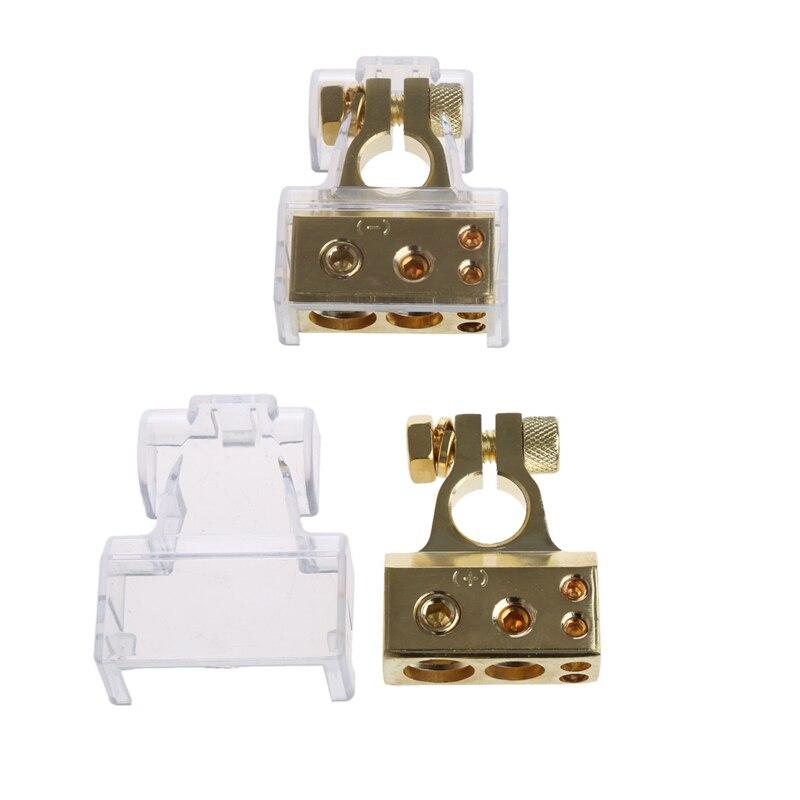 2 uds chapados en oro de batería de coche Terminal Positivo Negativo F 0/1 2 4 8 AWG herramienta 0GA * 1 + 4GA * 1 + 8GA * 2