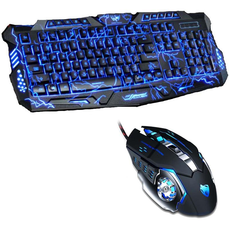 ثلاثي اللون USB السلكية LED الخلفية كمبيوتر محمول اعبة ماوس كومبو البصرية برو 6 أزرار 3200 ديسيبل متوحد الخواص الألعاب ماوس