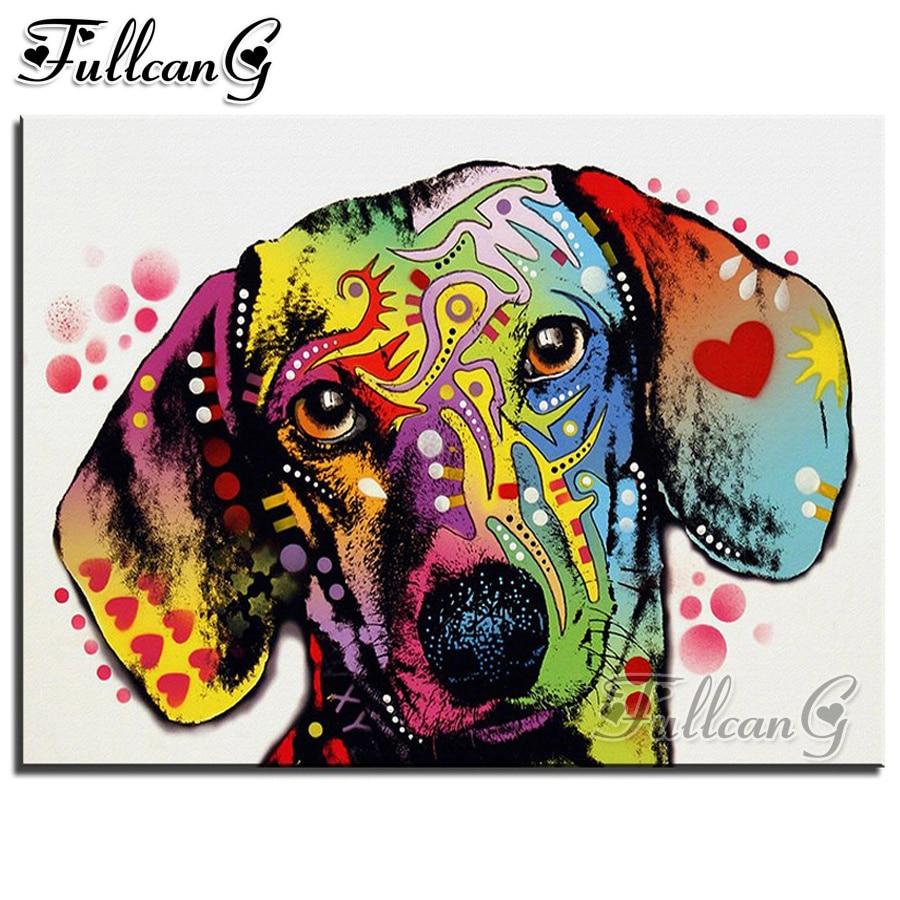FULLCANG diy 5d diamante mazayka dachshund perro dimundo pintura cuadrado completo/redondo taladro bordado strass animal decoración FC1795