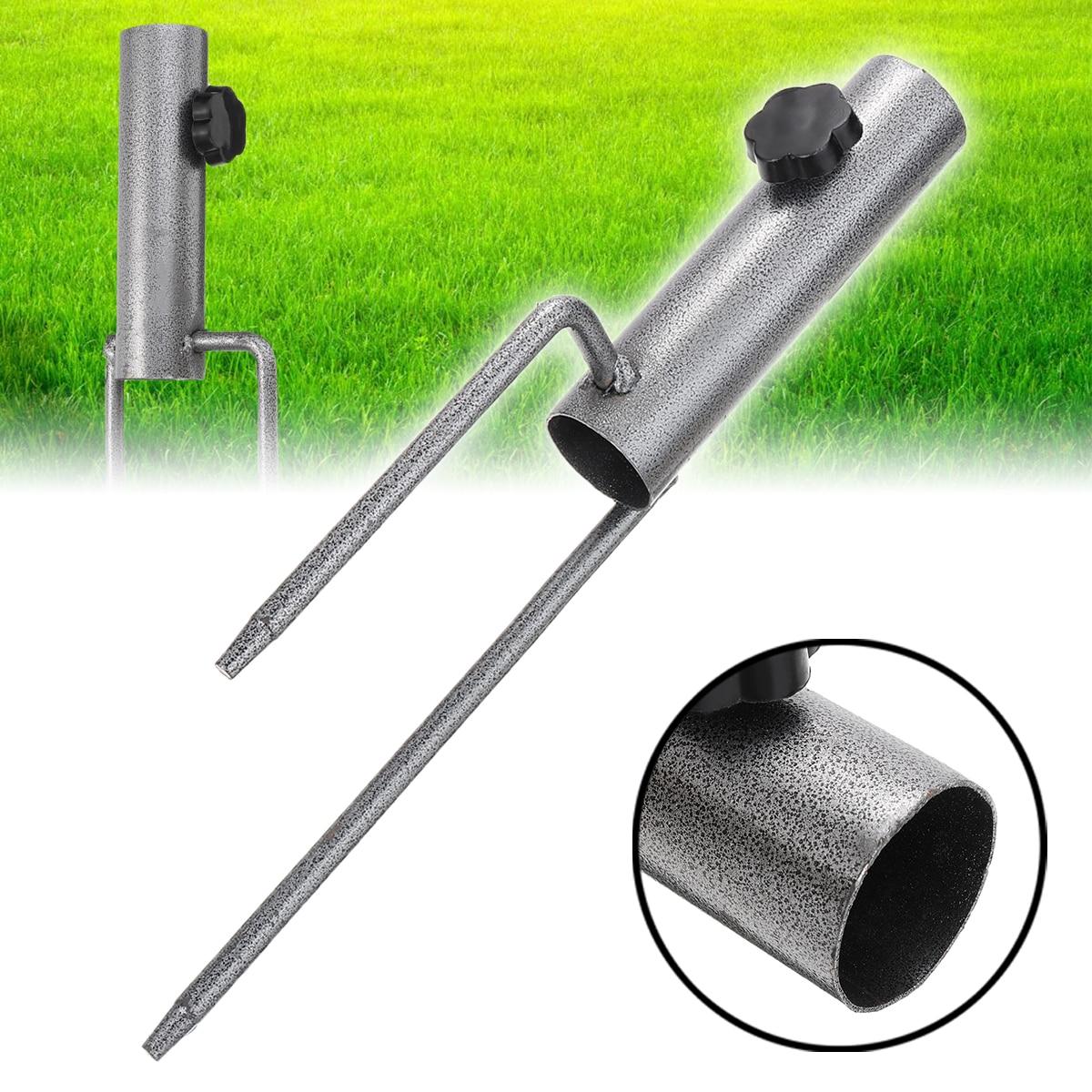 1PC Outdoor Sonnenschutz Regenschirme Halter Stehen Sonnenschirm Halter Stehen Metall Rasen Boden Einsatz Stabilisator