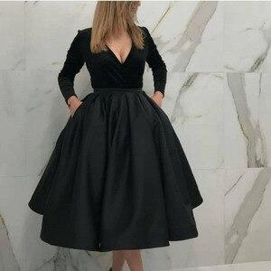 New A-Line evening dress short Prom dress party Arrival V Neck Long sleeve Evening dress Black Velvet Robe de soiree