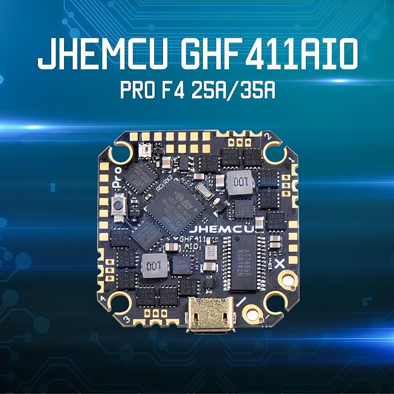 JHEMCU GHF411AIO Pro F4 OSD-وحدة التحكم في الطيران مع وحدة التحكم في الطيران المدمجة 25A / 35A BLheli_S 4 في 1 ESC بدون فرش لوحدة الهواء FPV Racing Drone