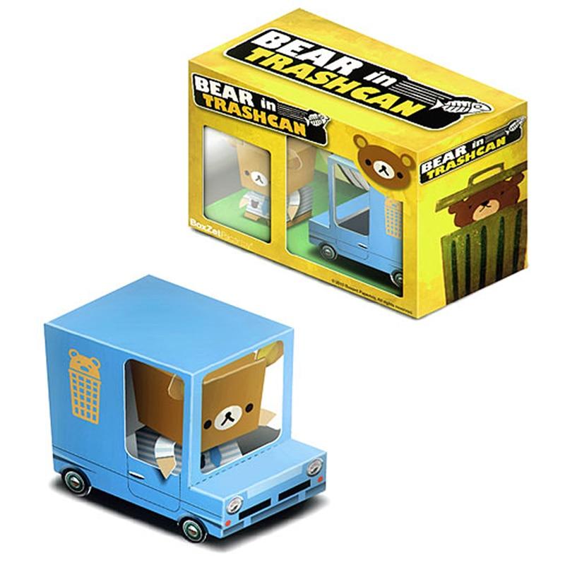 Cubo de basura de oso, caja de coche de Van, adornos de Cubee, minimodelo de papel 3D plegable, manualidades hágalo usted mismo, juguetes artesanales hechos a mano para niños y adultos, ER-033