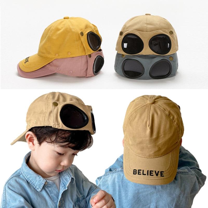 Korean Style Spring Kid's Eyewear Hat Pilot Sunglasses Baseball Cap Boys and Girls Ins Cool Baby Casquette Fashion
