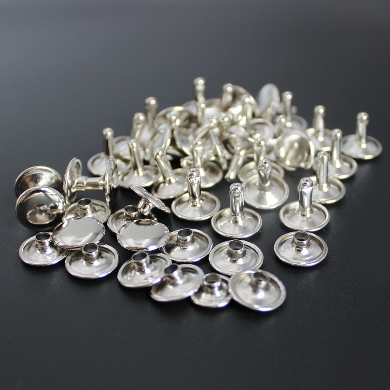 Venta al por mayor, triangulación de envío, plata, doble tapa, remaches rápidos para cuero, 17 tamaños para elegir