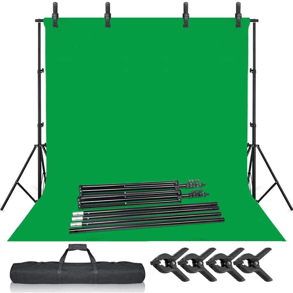 Selens Green Screen Backdrop Stand Kit 6.5x10ft Background Support System with 6.5x10ft Chromakey Backdrop with Clamps