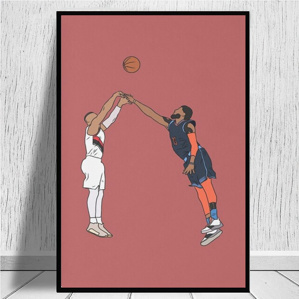 Damian Lillard Game Winner Over Paul George canvas prints Canvas Painting Cuadros Wall Art Picture for Living Room Decoration