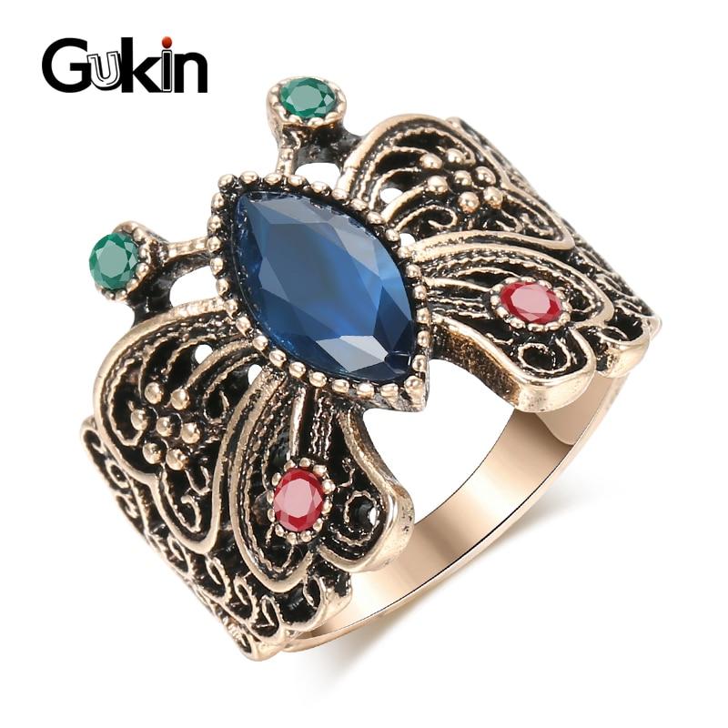 Gukin quente borboleta do vintage anéis para as mulheres antigo ouro azul resina cristal presente jóias de casamento