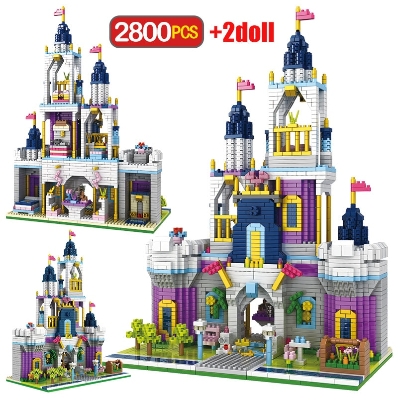 2800 Uds. Juguetes para niños amigos Castillo jardín ladrillos princesa cuento de hadas Castillo modelo 3D DIY diamante Mini bloques de construcción