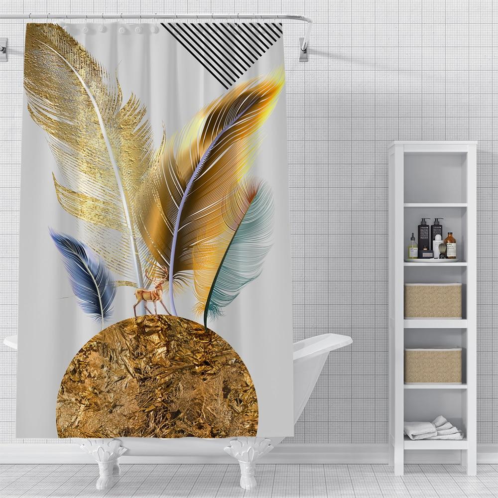 Cortina de baño de ducha impermeable de plumas bonitas personalizada, decoración de baño impresa, varios tamaños #2020-06-04-11