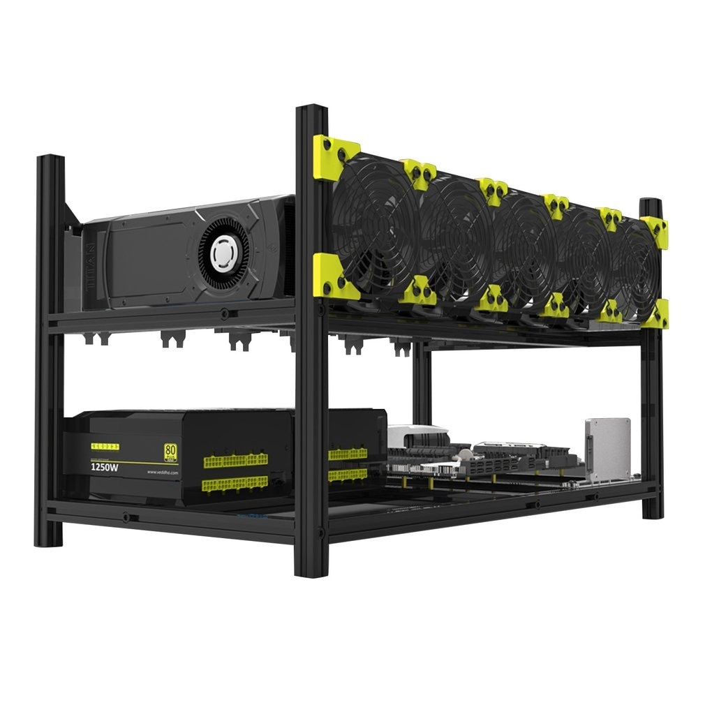 6-gpus-5-fans-low-noise-aluminum-stackable-open-air-mining-computer-frame-protective-net-mining-rack
