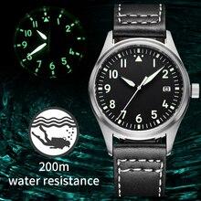 Reloj Steeldive Pilot, reloj automático mecánico para bucear C3, relojes luminosos para hombres, buzos, cristal de zafiro, 200m, reloj de buceo NH35